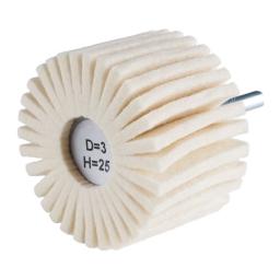 Rueda con láminas de vellón de lana de 60 x 40 x 6 mm. grano D3/H25 (blando) FLP