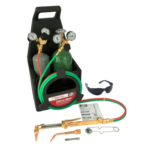 Kit de cilindros con manometros, mango de soldar, cabeza cortadora y picos marca Harris